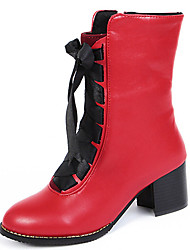 Women's Shoes Chunky Heel Round Toe Lace Up Boot More Color Available