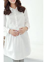 Maternidade Solto Vestido,Casual Simples Sólido Colarinho de Camisa Acima do Joelho Manga Longa Azul / Branco Raiom Primavera