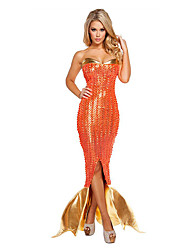 Cosplay Costumes Party Costume Mermaid Tail Fairytale Festival/Holiday Halloween Costumes Golden Orange Vintage DressHalloween Christmas