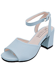 Women's Sandals Summer PU Dress Casual Low Heel Others Black Blue Pink White