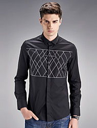 In the autumn of 2016 new men's slim young man long sleeved solid routine simple shirt shirt in Europe