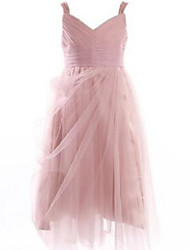 Ball Gown Tea-length Flower Girl Dress - Lace / Tulle Sleeveless Straps with Draping