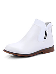 Women's Shoes Fall / Winter Fashion Boots Boots Dress / Casual Low Heel Zipper Black / Brown / White Walking