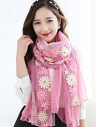 Women Flowers Embroidered Chiffon Scarf Long Shawl Scarves