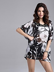 # Femme Col Arrondi Manche Courtes Shirt et Chemisier Noir et blanc-5026