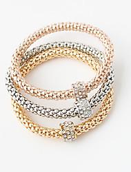 Bracelet Bracelets Alliage Forme Ronde Couche double Mariage Soirée Bijoux Cadeau Doré,1set