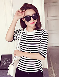 Women's Casual/Daily Simple Regular Cashmere,Striped Black Round Neck ½ Length Sleeve Rayon Spring / Fall Medium