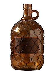 Barbed Wire Retro Amber Glass Vase Decorative Glass Bottle Ornaments Crafts (13.5 * 18cm)