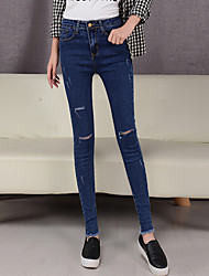 Women's Solid Blue / Black Jeans Pants,Simple