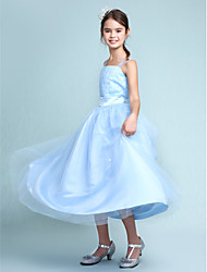 Lanting Bride® Knee-length Satin / Tulle Junior Bridesmaid Dress Ball Gown Straps Natural with Beading / Draping / Ruffles / Sash / Ribbon