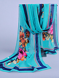 Women's Chiffon Flowers Print Scarf,Nine Colors For Choose