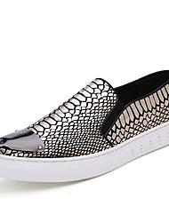 Running Shoes Men's Fashion Casual Shoes EU39-44 Hight-top Microfiber Board Flats Shoes Black/Gold