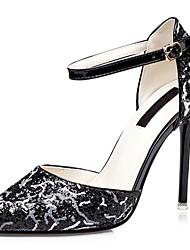 Women's Sandals Summer Heels / Pointed Toe Glitter Party & Evening / Dress / Casual Stiletto Heel Buckle Black /