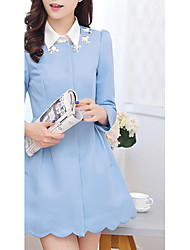 Women's Casual/Daily Simple Coat,Solid Round Neck Long Sleeve Spring / Fall Blue / Pink Polyester Medium