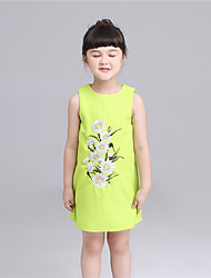 KIMOCAT Girl's Casual/Daily Floral Dress,Cotton Summer Green