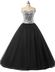 Robe de bal sweetheart longueur du sol tulle robe de soirée formelle avec des sequins de détails en cristal