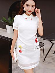 Boutique SWomen's Casual/Daily Cute Shift Dress,Jacquard Shirt Collar Above Knee Short Sleeve  Polyester Summer