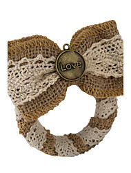Set of 2 Circle Love Bowknot Jute Napkin Rings for Wedding Set the Tablecloth
