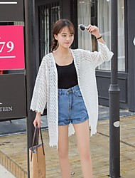 Women's Casual/Daily Simple Summer Cloak/Capes,Solid Halter Long Sleeve White Polyester Thin