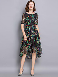 Women's Plus Size Vintage Chiffon Dress,Print Round Neck Asymmetrical ½ Length Sleeve Black Polyester Summer