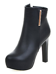 Women's Shoes Winter Platform / Fashion Boots Boots Dress Chunky Heel Zipper Black / Gray Others