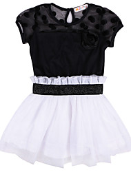 Fashion Kids Toddlers Girls White/Black Flower Princess Summer Clothing Tutu Mini Dress for 2-7 Years Children