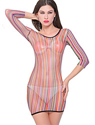 Women Sexy Multicolor Hollow Mesh Network Clothing Elastic Round Neck Long Sleeve Perspective Lingerie