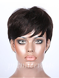 Short Human Hair machine made none lace Wigs 2# 2.5-4inch Unprocessed Virgin Remy Brazilian virgin hair