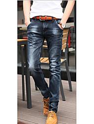 Jeans Pour des hommes Couleur plaine Décontracté Coton Noir / Bleu