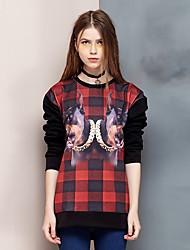 Damen Pullover Ausgehen Einfach Leopard Rundhalsausschnitt Mikro-elastisch Baumwolle Langarm Frühling Herbst