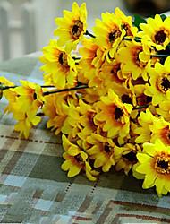 1 1 Ast Polyester Sonnenblumen Tisch-Blumen Künstliche Blumen 33cm