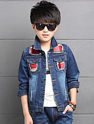 Boy's Cotton Spring/Autumn Fashion Plaid Patchwork Cowboy Outerwear Baseball Long Sleeve Sport Denim Jacket Coat