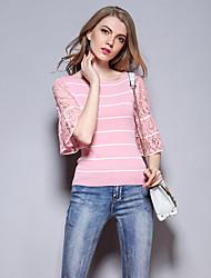 las mujeres Sybel de salir / suéter de la corto lindo, rayas de color rosa alrededor del cuello de algodón ½ longitud de la manga /