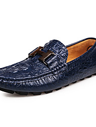 Men's Loafers & Slip-Ons Spring / Summer Comfort Cowhide Casual  Slip-on Black / Blue / Brown / Yellow Walking