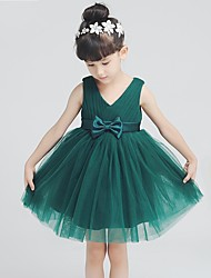 A-line Short / Mini Flower Girl Dress - Tulle Sleeveless V-neck with Bow(s)