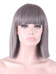 les nouveaux cos perruque grise soignée Bang bobo court 12 pouces