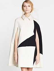 Women's Going out Street chic Cloak/Capes,Color Block Shirt Collar Sleeveless Spring / Fall White Polyester Thick