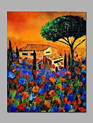 Pintados à mão Floral/Botânico Pinturas a óleo,Pastoril 1 Painel Tela Hang-painted pintura a óleo For Decoração para casa