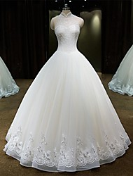 Princess High Neck Floor Length Lace Tulle Wedding Dress with Beading Lace