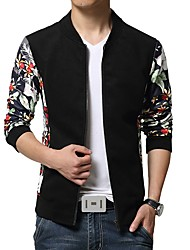 Men's Fashion Slim Sleeves Floral Camouflage Jacket,Cotton / Polyester Patchwork Green / Red / White / Yellow