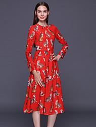 stephanie femmes sortant mignon lâche dressanimal impression autour du cou genou longueur manches longues en coton rouge / polyester