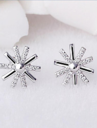 925 sterling silver inlaid CZ Earrings sun light