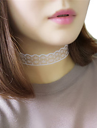 Women Korean Simple Black and White Hollow Pattern Lace Choker Necklace Jewelry 1pc
