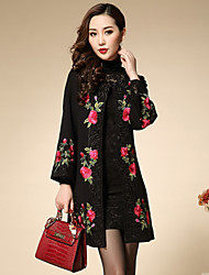 Boutique S Women's Plus Size / Going out Chinoiserie Coat,Floral / Embroidered Round Neck Long Sleeve