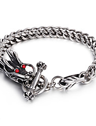 316L Stainless Steel Link Chain Red Evil Eyes Dragon Bracelet 2016 Fashion Punk Bracelet Cool Men Accessory Gift