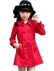 Girl's Cotton Spring/Autumn Fashion Solid Color Double-breasted Casual Bowknot Jacket Trench Coat