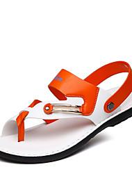 Herren Sandalen Leder Sommer Normal Walking Flacher Absatz Weiß Orange Blau