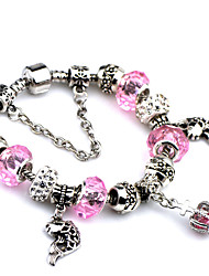 Fashion Bangles For Women 2016 Crystal Diy Stone Bracelet Bead Bracelet Crown Pendant Bracelet Femme-Pink
