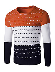 Men's Slim Tri-Color Stitching Little Monster Embroidered Knitted Sweaters,Wool / Cotton Long Sleeve Blue / Orange