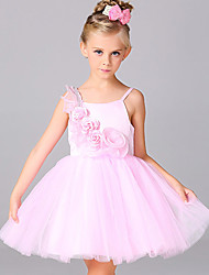 A-line Knee-length Flower Girl Dress - Organza / Satin Sleeveless Spaghetti Straps with Flower(s) / Lace